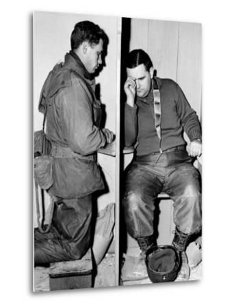 A Catholic Chaplain Hears the Confession of a Young Private after Services--Metal Print