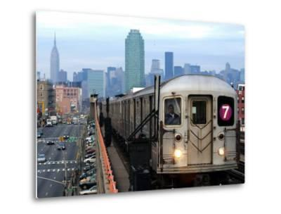 The Number 7 Train Runs Through the Queens Borough of New York--Metal Print
