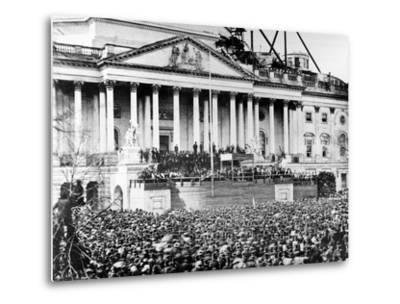 U.S. President Abraham Lincoln Stands Under Cover at Center of Capitol Steps--Metal Print