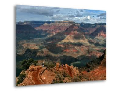 Tourists Hike Along the South Rim of the Grand Canyon--Metal Print