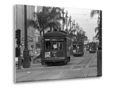 Canal Street Trolleys--Metal Print