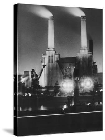 Coal Ships Unload at Battersea Power Station, July 1950--Stretched Canvas Print