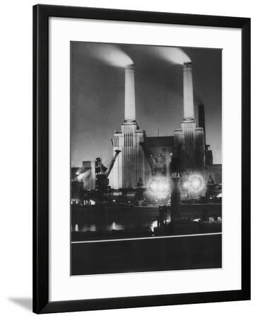Coal Ships Unload at Battersea Power Station, July 1950--Framed Photographic Print