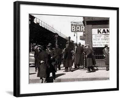 The Bowery, Noted as a Home for New York's Alcoholics, Prostitutes and the Homeless 1940s--Framed Photographic Print