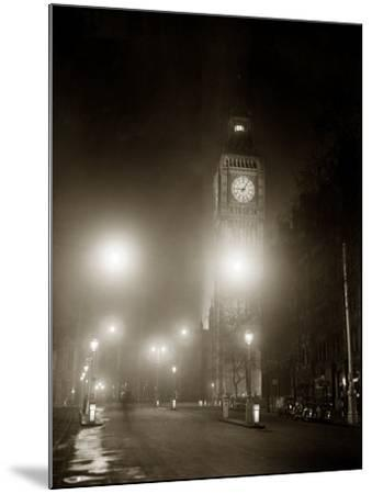 Big Ben and the Houses of Parliament Floodlit for the Opening of the Festival of Britain, 1951--Mounted Photographic Print