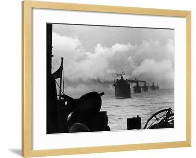 A WW2 Convoy of Steam Supply Ships Sailing Along the English Coast, 1942--Framed Photographic Print