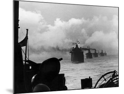 A WW2 Convoy of Steam Supply Ships Sailing Along the English Coast, 1942--Mounted Photographic Print