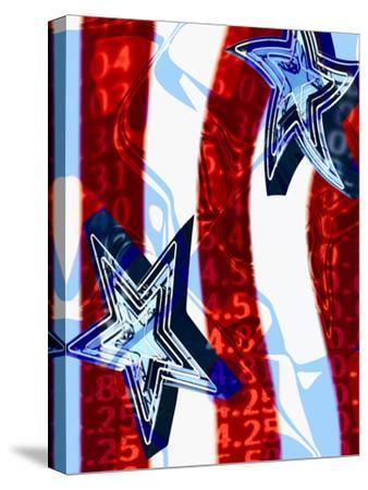 Patriotic Stars and Stripes with Numbers--Stretched Canvas Print