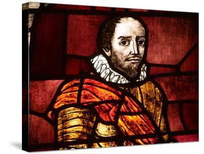 Close-up of Shakespeare in an Illuminated Stained Glass Window--Stretched Canvas Print