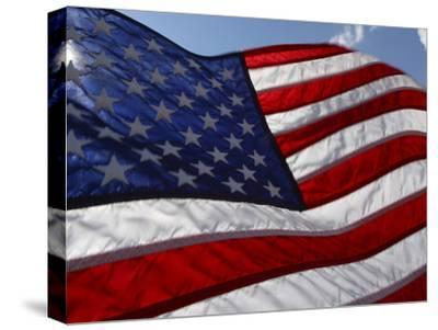 Close-up of American Flag--Stretched Canvas Print