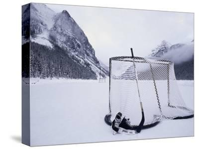 Ice Skating Equipment, Lake Louise, Alberta--Stretched Canvas Print