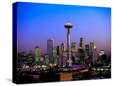 Skyline of Seattle at Dusk--Stretched Canvas Print
