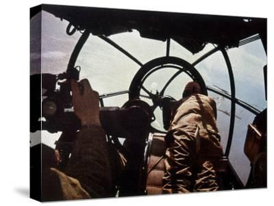 German Machine-Gunner in the Cockpit of a Bomber, Probably a Heinkel He-111-Unsere Wehrmacht-Stretched Canvas Print