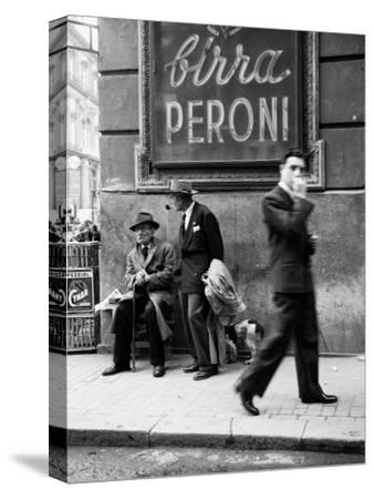 Men in a Street of Napoli--Stretched Canvas Print