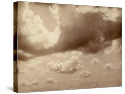 Stretch of Sky with Large Clouds. the Silhouette of the Hills Can be Made out Below--Stretched Canvas Print