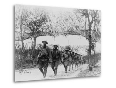 U.S. Army Infantry Troops Marching Northwest of Verdun, France, in World War I, 1918--Metal Print