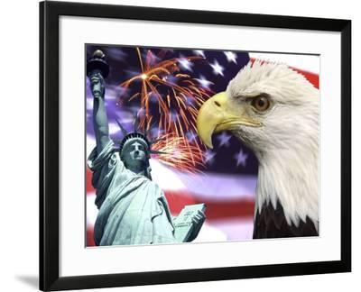 Eagle, Fireworks, Statue of Liberty-Bill Bachmann-Framed Photographic Print