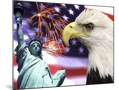 Eagle, Fireworks, Statue of Liberty-Bill Bachmann-Mounted Photographic Print
