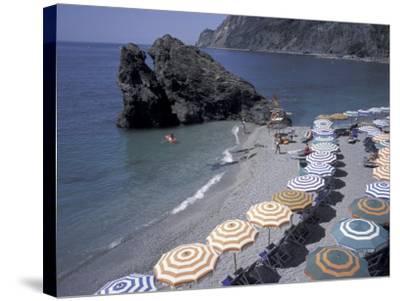 Mediterranean Beach in Cinque Terre, Liguria, Italy,-David Barnes-Stretched Canvas Print