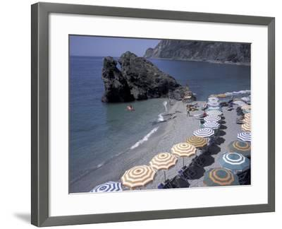 Mediterranean Beach in Cinque Terre, Liguria, Italy,-David Barnes-Framed Photographic Print