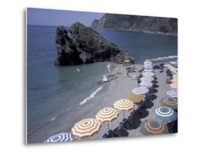 Mediterranean Beach in Cinque Terre, Liguria, Italy,-David Barnes-Metal Print
