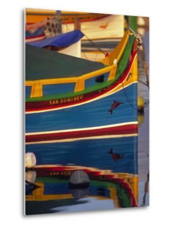 Colorful Fishing Boat Reflecting in Water, Malta-Robin Hill-Metal Print