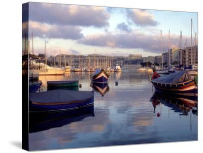 Harbor Port Scene with Boats, Valletta, Malta-Robin Hill-Stretched Canvas Print