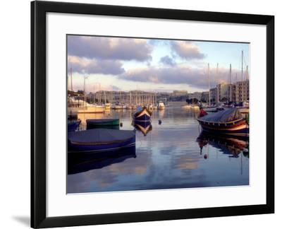 Harbor Port Scene with Boats, Valletta, Malta-Robin Hill-Framed Photographic Print