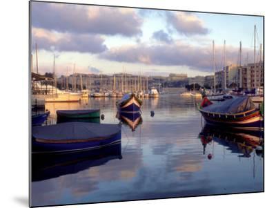 Harbor Port Scene with Boats, Valletta, Malta-Robin Hill-Mounted Photographic Print