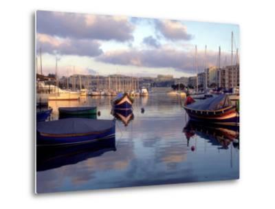 Harbor Port Scene with Boats, Valletta, Malta-Robin Hill-Metal Print