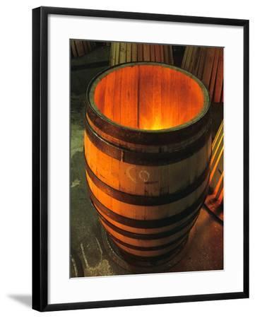 Toasting a New Oak Wine Barrel at the Demptos Cooperage, Napa Valley, California, USA-John Alves-Framed Photographic Print