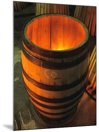 Toasting a New Oak Wine Barrel at the Demptos Cooperage, Napa Valley, California, USA-John Alves-Mounted Photographic Print