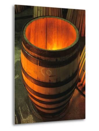 Toasting a New Oak Wine Barrel at the Demptos Cooperage, Napa Valley, California, USA-John Alves-Metal Print
