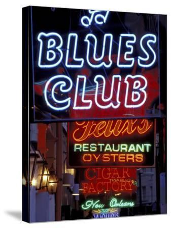 Neon Signs on Bourbon Street, French Quarter, New Orleans, Louisiana, USA-Adam Jones-Stretched Canvas Print