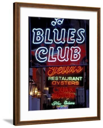 Neon Signs on Bourbon Street, French Quarter, New Orleans, Louisiana, USA-Adam Jones-Framed Photographic Print