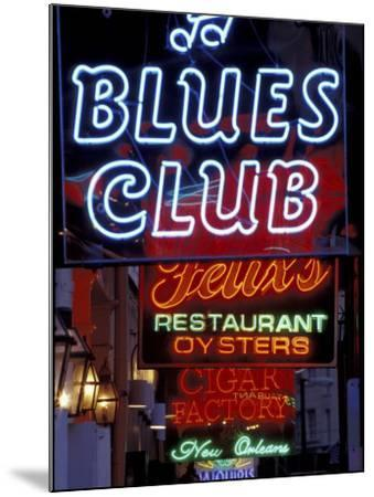 Neon Signs on Bourbon Street, French Quarter, New Orleans, Louisiana, USA-Adam Jones-Mounted Photographic Print