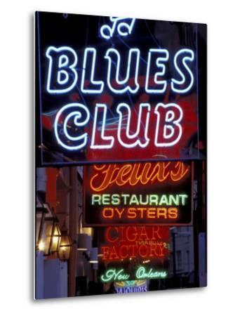 Neon Signs on Bourbon Street, French Quarter, New Orleans, Louisiana, USA-Adam Jones-Metal Print