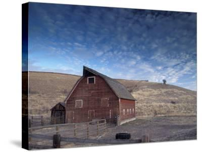 Red Barn, Wallowa County, Oregon, USA-Brent Bergherm-Stretched Canvas Print