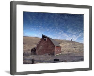 Red Barn, Wallowa County, Oregon, USA-Brent Bergherm-Framed Photographic Print