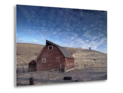 Red Barn, Wallowa County, Oregon, USA-Brent Bergherm-Metal Print