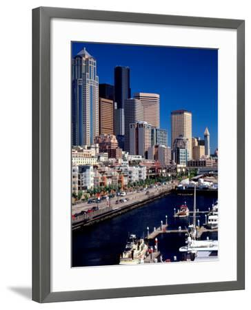 Bell Harbor Marina under Skyscrapers, Seattle, Washington, USA-Charles Crust-Framed Photographic Print