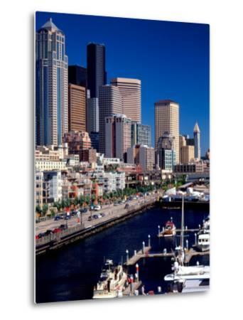 Bell Harbor Marina under Skyscrapers, Seattle, Washington, USA-Charles Crust-Metal Print