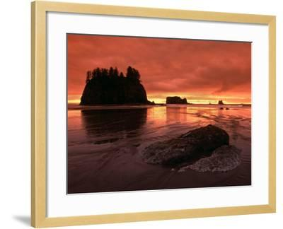 Sunset on Sea Stacks of Second Beach, Olympic National Park, Washington, USA-Jerry Ginsberg-Framed Photographic Print