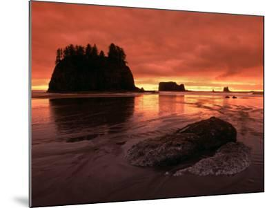 Sunset on Sea Stacks of Second Beach, Olympic National Park, Washington, USA-Jerry Ginsberg-Mounted Photographic Print