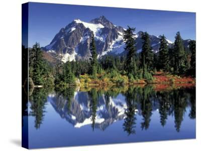 Mount Shuksan at Picture Lake, Heather Meadows, Washington, USA-Jamie & Judy Wild-Stretched Canvas Print