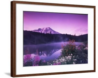 Reflection Lake with Summer Alpine Wildflowers, Mt. Rainier National Park, Washington, USA-Stuart Westmoreland-Framed Photographic Print