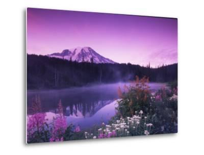 Reflection Lake with Summer Alpine Wildflowers, Mt. Rainier National Park, Washington, USA-Stuart Westmoreland-Metal Print