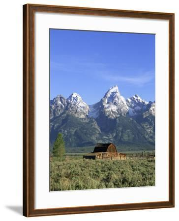 Morning Light on the Tetons and Old Barn, Grand Teton National Park, Wyoming, USA-Howie Garber-Framed Photographic Print