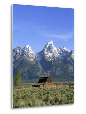 Morning Light on the Tetons and Old Barn, Grand Teton National Park, Wyoming, USA-Howie Garber-Metal Print