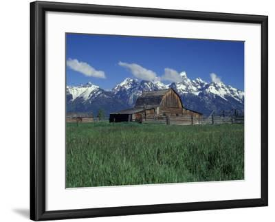 Jackson Hole Homestead and Grand Teton Range, Grand Teton National Park, Wyoming, USA-Jamie & Judy Wild-Framed Photographic Print
